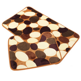 Wholesale Pattern Bath Rugs - Wholesale-Non-Slip Bath Toilet Carpet Rug Cover Bathroom Bath Mat 2Pcs Soft Cobble Stone Pebbles Pattern Set