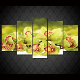 Wholesale Orchids Canvas Oil Painting Sets - 5 Pcs Set Framed HD Printed Light Green Orchid Flower Picture Wall Art Canvas Print Decor Poster Abstract Canvas Oil Painting