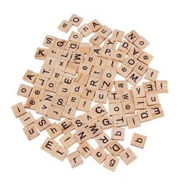 Wholesale Vinyl Alphabet Letters - New 100Pcs Burlywood Color Wooden Alphabet Scrabble Tiles Black Letters & Numbers For Crafts Wood