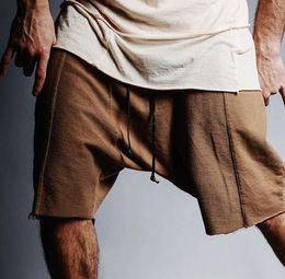 Wholesale Shorts Crotch - Wholesale-KMO hip hop free shipping high street casual urban clothes beach short sweatpants kanye mens drop crotch khaki sweat shorts