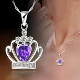 Wholesale Silver Crown Pendant Rhinestones - 925 Sterling Silver Jewelry Austrian Crystal Crown Wedding Pendant Purple Silver Excluding Necklace Free Shipping