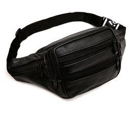 Wholesale Travel Pouch Money Waist Belt - Men Retro Cowhide Waist Bags Waterproof Fashion Functional Fanny Packs Solid Money Phone Belt Bags Travel Pouch Coin Purse