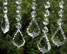 Wholesale Wholesale Clear Acrylic Christmas Ornaments - Clear Acrylic Crystal Pendants Hanging Bead Drape Garland Wall Panel Wedding Decor Garland Tassel Screen Christmas Tree DIY party Decorative