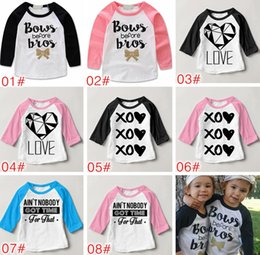 Wholesale Sister Girls - INS 2017 Bows Before Bros Shirt Raglan Toddler Bow Shirt Baby Girl Twin Sister Clothes Gold Baby Girl Shirt Hipster Tops Photo Prop