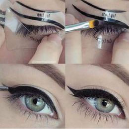 Стили для кошачьего глаза онлайн-2 стили красота Cat подводка для глаз модели дымчатый глаз трафарет шаблон формирователь подводка для глаз Макияж инструмент