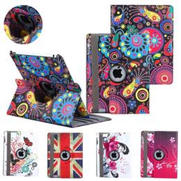 Wholesale Ipad Mini Uk Flag Cover - 360 Rotating Heart Flower Butterfly Jellyfish USA UK Flag Flip PU Leather Smart Cover Case For New iPad 2017 9.7 10.5 2 3 4 5 6 Pro Mini