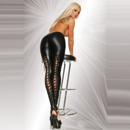 Wholesale Leather Back Leggings - Europe and the explosion of Large Size Black Faux Leather Leggings sexy back binding thin leather pants Leggings 2366