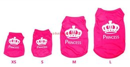 Wholesale Small Wedding Crowns - 2016 Pet Dog Cat Cute Crown Princess T-Shirt Clothes Vest Summer Coat Puppy Clothing Pet Products For small dog Product For cat