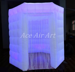 Wholesale China Offer - white oxford octagon inflatable photobooth with 1 door enclosure with led lights offered made in China