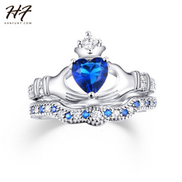 Wholesale Wholesale Claddagh - Wholesale- Exquisite Love Design Crown Hand Heart Clah-Duh Claddagh Ring Set Sliver Color Blue CZ Crystal Rings for Women R616