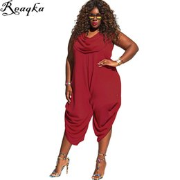 Wholesale Womens Xxl Clothing - Wholesale- large size women Jumpsuits Folds big size Rompers 2016 new summer plus size womens clothing Black White Yellow Red 4XL 3XL XXL