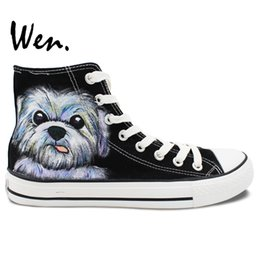 Wholesale B Pets - Wen Hand Painted Casual Shoes Custom Design Cute Pet Dog Black High Top Canvas Shoes Women Men's Christmas Gifts