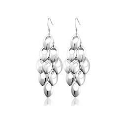 Wholesale Fine Tail - New Women Dangle Earrings Statement Drop Peacock Tail Silver Plated Long Fashion Fine Jewelry 10pcs Wholesale