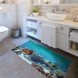 Wholesale Wall Art Decals Fish - Slip-proof Sea fish and turtle Floor Sticker Ome Decal Pastoral Mural Wall Art Pastoral Poster Bathroom 3D effect Floor Stickers