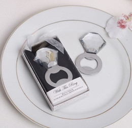 Envío gratis anillo de diamante de plata del metal anillo de cristal abrebotellas de la cerveza favores de la boda regalos de la fiesta de cumpleaños desde fabricantes