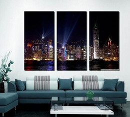 Wholesale Modern Paintings Large Size - 3 Panels Large Size Beautiful City View Landscape Modern Canvas Painting Creative Photos Picture Wall Art Picture Modern Home Decor Living R