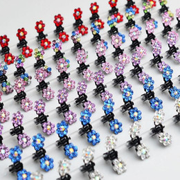 Wholesale Claw Clips For Hair - Wholesale 12 PC Crystal Flower Mini Claw Clamp Hair Clip Hair Pin NEW Barrette Hair Accessories for Baby Girl Lady