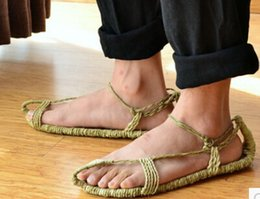 Wholesale Ancient Army - Wholesale-Jute summer sandals and slippers of pure manual weaving tide shoes red army air big yards Restore ancient ways sandals X215
