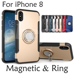 Wholesale Back Cover Magnetic - Hybrid TPU+PC 2-in-1 Armor Case Shock-Proof Cases 360 Ring Stand Holder Magnetic Back Cover For iPhone X Samsung S8 Plus S7