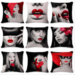 Wholesale Sexy Lips Pillow - 10 Colors Sexy Women Red Lip Pillow Case Black Fashion White Square Cotton Linen Cushion Cover 45*45cm Home Decoration