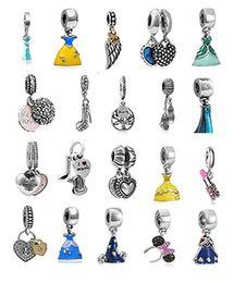Wholesale Wholesale Fitted Dresses - Wholesale Mixed Loose Silver Beads Charm EnamelAnna Belle Cinderella Essar Dress Pendant Beads Fit Women Pandora Bracelet Bangle Diy Jewelry