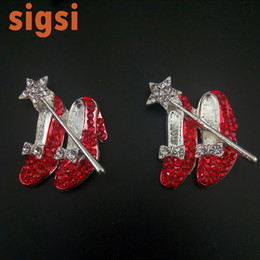 Wholesale Brass Applique - Jewelry accessories 40mm silver tone red magic shoes crystal brooch applique, high heels broach