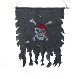 Wholesale Curtain Decoration Toy - Halloween props house decoration fold flower ring flag Korea touch hanging flag ornaments pirate flag curtain spoof toy