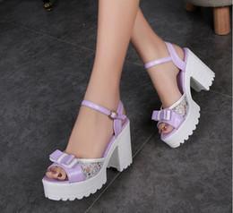 Wholesale Women Flatform Sandals - 2017 Fashion Woman Sandals Flatform Women Summer Shoes Open Toe Sandals Thick Heel High Heels Shoes Bowtie Women Shoes