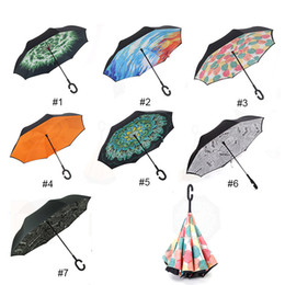 Wholesale Umbrella Protection - Windproof Reverse Folding Double Layer Inverted Chuva Umbrella Self Stand Inside Out Rain Protection C-Hook Hands For Car 0703160