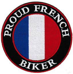 Wholesale French Caps - Whole Sale PROUD FRENCH BIKER EMBROIDERED PATCH IRON SWE ON T-shit OR CAP JACKET BAG HAT ECT HIGH QUANLITY