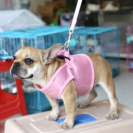 Wholesale Dog Collars Leashes Sets - Dog Leash Air Permeable Dog Harness 5 Sizes Pets Collar Leash Harness Set Multi Colors Pet Supplies Set