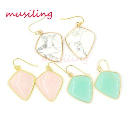 Wholesale Dangle Stone Earring - musiling Jewelry Natural Stone Crystal Earrings Drop Gold Plated Earrings Charms Geometric Earrings Fashion Jewelry For Women