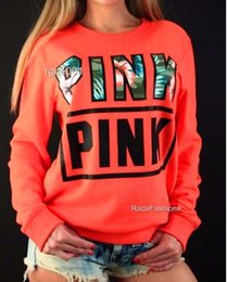 Wholesale Sweaters For Ladies - NEW spring autumn Designed PINK printing long-sleeved women's sweater Casual Hoodies sudaderas Mujer clothing for lady green colors
