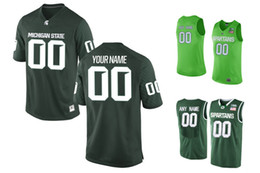 Wholesale apple basketball - Michigan State Spartans Customized College Basketball Authentic Jersey - Apple Green -Green