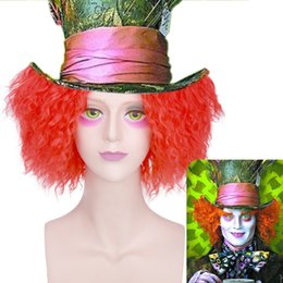 Wholesale Cosplay Mad Hatter - Alice Mad Hatter Party Hair Short Curly Fluffy Orange Red Color Men Halloween Movie Cosplay Custome Wig Heat Resistant Synthetic Hairstyle