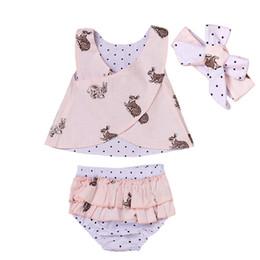 Wholesale Baby Headbands Polka Dot - 2017 Summer Kids Clothing Baby Girls Outfits Infant Clothes Sleeveless Chest Cross + Polka Dot Shorts + Headband 3PCS Girls Clothing Sets