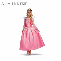 Wholesale Women Sleeping Beauty Costume - Adult Aurora Costume Deluxe Sleeping Beauty Princess Aurora Gorgeous costume Deluxe carnival fancy out fit