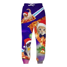 Wholesale Galaxy Trousers - Wholesale-Alisister Men Christmas Pants Unisex 3D Printed Galaxy Cats Trousers Funny Sweatpants Casual Sweat Pants Joggers Plus Size