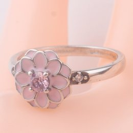 Wholesale Enamel European Ring - 100% solid 925 sterling silver ring for european pandora thread bracelet AN28 pink enamel flower new rings fashion women gift jewelry