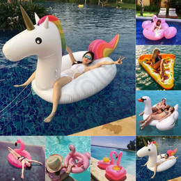 Wholesale Wholesale Inflatable Pool Floats - Adult Swimming Ring Giant Inflatable Flamingo Unicorn Pizza Swan Pool Float Inflatable Water Pool Toys 9 Designs OOA1252