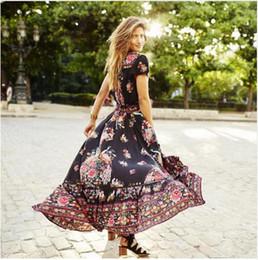 Canada Plus la taille xxl noir imprimé floral en mousseline de soie robes d'été longue Vinatge sexy col en V maxi bohème plage élégante chic femmes chic robe Offre