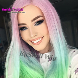 Wholesale Coloured Hairs - Attractive Colorful Pink Ombre Green Yellow Rainbow Color Hair Wig Mermaid Cosplay Custome Wigs Unicorn Colour None Lace  Lace Front Wig