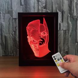 2019 quadro de batmen Jack Batman 3D Lâmpada LED Photo Frame Decoração Lâmpada IR Remote 7 RGB Luzes DC 5 V Fábrica Drop Shipping Caixa de Presente de Cor quadro de batmen barato