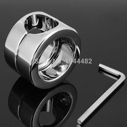Wholesale Testicular Restraint - Stainless Steel Penis Delay Ring Metal Ball Weight Scrotum Ring Locking Cock Ring Ball Stretchers For Men Testicular Restraint 620g