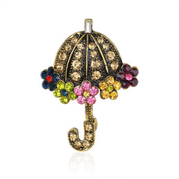 Wholesale Umbrella Wholesale Party - New Arrival Brooches Fashion Jewelry Rhinestone Crystal Brooches Multicolor Umbrella Brooch Vintage Style Brooches for Women Christmas Gifts