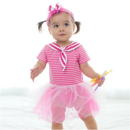 Wholesale Striped Gauze - Infant Baby Rompers Sailor New Toddler Jumpsuit Girl's Striped Lace Romper With Bow Headband Babies Cotton Gauze Romper Baby One-piece A6510