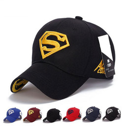 Wholesale Superman Snapback Cap - Designer Superman Embroidery Baseball Cap Fitted Snapback Cotton Baseabll Hat Men for Women Golf Cap Brand Sun Hats Caps for Men DHL Free