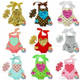Wholesale Jumpsuits Fashion Design - Baby Rompers Headband Kids Clothing Sets Gold Heart Onesies Hairband Dotted Bowknot Jumpsuits Summer Fashion Clothing 14 Designs New H328