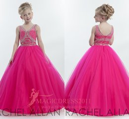 Wholesale Kids Hot Pink Ball Gowns - Rachel Allan 2016 Hot Pink Girl's Pageant Dresses Ball Gown V-Neck Major Beaded Flower Girls Dress For Wedding Floor Length Kids Formal Wear