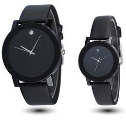Wholesale Elegant Leather Watch - Wholesale- Sinobi New Fashion Black White Mens Womens Leather Quartz Analog Wrist Watch Boy Girl's Student Elegant classic casual watches